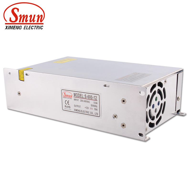 SMUN S-600-12 110V/220VAC to 600W 12V 50A Single Output Switching Power Supply With CE ROHS For Industrial and Led Used image