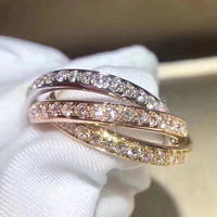 Brand Pure 925 Sterling Silver Jewelry For Women 3 Round Rings 3 Color Circle Rings Wedding Jewelry Fashion Party Rings Luxury