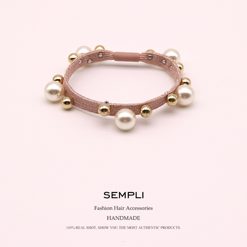 2019 New 7MM Width Nylon High Quality Rubber Band Elastic Hair Bands For Women's And Girl Gold Beads Pearl Lady Hair Accessories