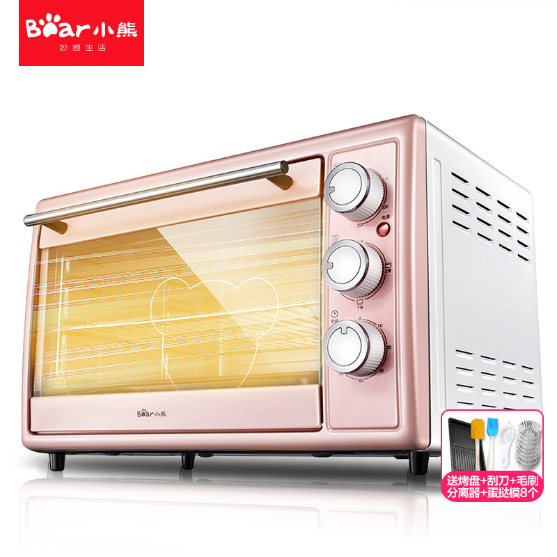 Multi-function Electric Ovens For Home BakingCakes 30L Capacity Mini Stainless Steel Baking Oven With Hot Plates Cute Pink