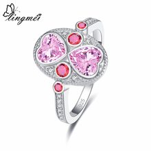 Lingmei lindo coração duplo única moda pinkwhiteyellowred zircon cor prata anel tamanho 6-9 banda de casamento