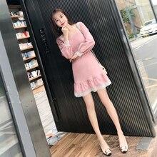 Pink Dress Lace Harajuku Kawaii Sweet A-Line Lantern Sleeve Short Elegant Wrap Party Sundress