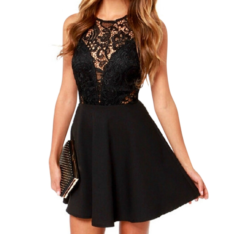 2018 Elegant Women Mini Dress Casual Solid Sleeveless Slim Lace Hollow Out Lace Black Dress