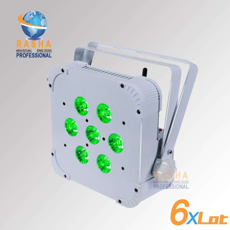 6X Hot Sale Rasha Quad 7*10W RGBA/RGBW 4in1 Wireless LED Flat Par Profile,LED Flat Par Can,Disco DMX512 Stage Light 24x hot sale rasha quad 7 10w rgba rgbw 4in1 wireless led flat par profile led flat par can disco dmx512 stage light