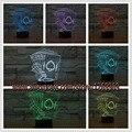 Envío libre Luz de La Noche de Póquer Naipe Kids 3D Lámpara romántico 7 Colores Chang Led Casa Cafe Bar Restaurant decorativo