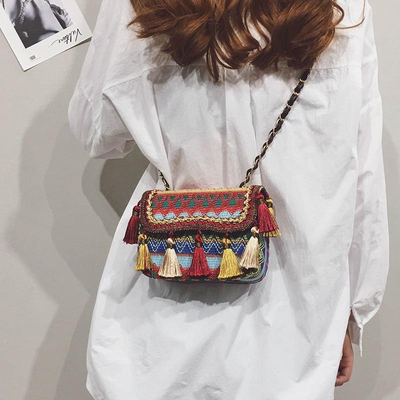 Nouvelle marque femmes sac gland bandoulière sac à bandoulière dames tissu sac à main chaînes fille Vintage rétro sac de plage Bolsos Mujer