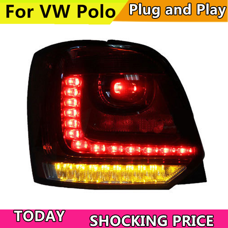 Car Styling For Volkswagen VW Polo MK5 2011 2016 Taillights LED Tail Light Rear Lamp DRL