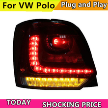 Car Styling For Volkswagen VW Polo MK5 2011-2016 Taillights LED Tail Light Rear Lamp DRL+Brake+Reversing+Yellow Turning tailligh