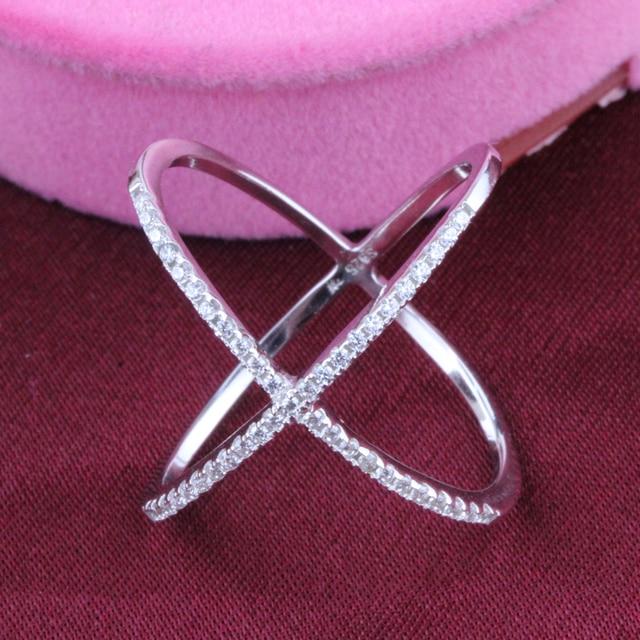 Best-selling Trendy   White Gold Plated Men Midi Finger Ring Set 925 Sterling Silver X Ring Cross Ring For Women Free Shipping