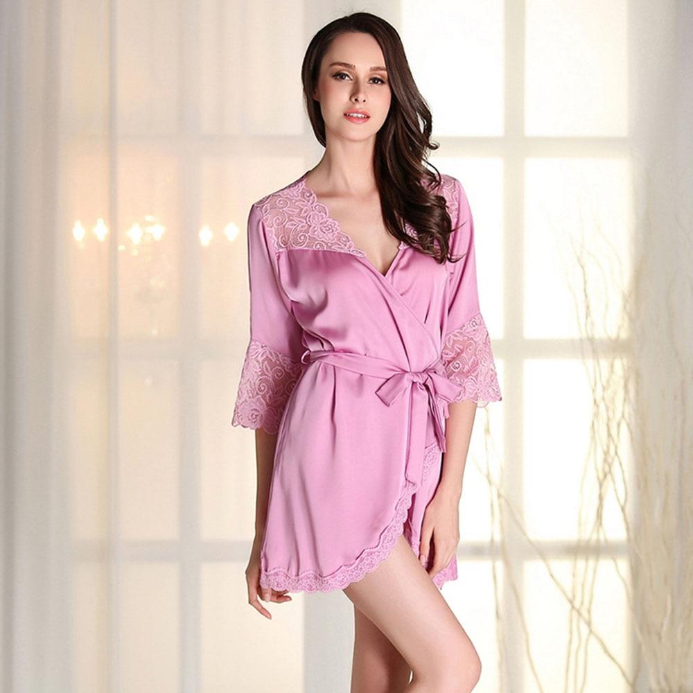 2017 Spring New Lace Stitching Long-sleeved Sexy Nightwear Pajamas Thin Home Service Sleepwear Bath Robe Bathrobe Women Robes