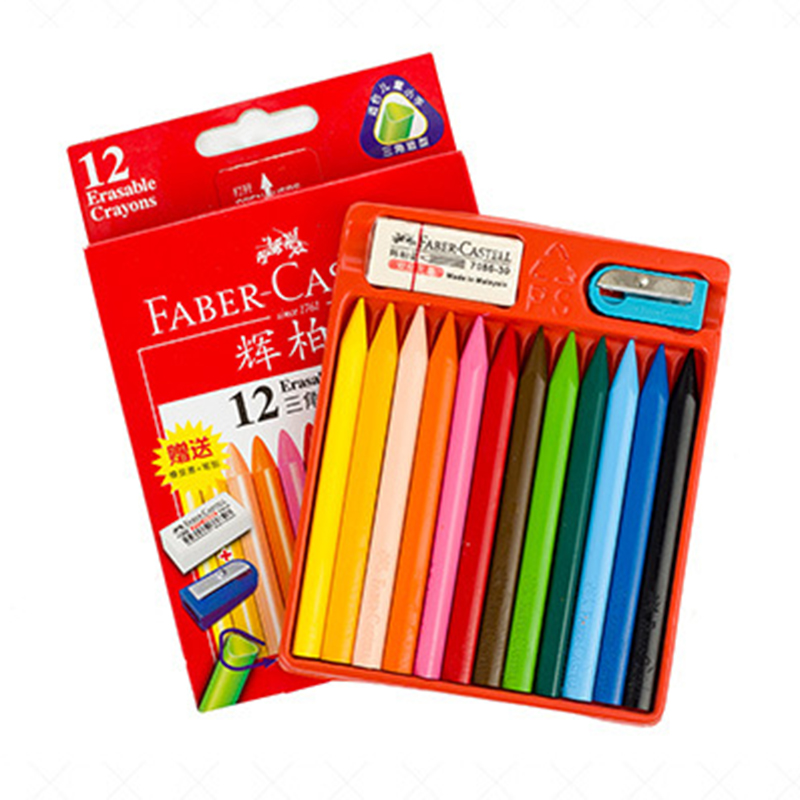 Faber Castell 12/24pcs Colored Pencil Erasable Triangle Crayon Set Pastel Pencils for Drawing Pencil Color Set for kids faber castell fashion colored pencils artist painting oily color pencil set for student drawing 36 48 72 colors free shipping