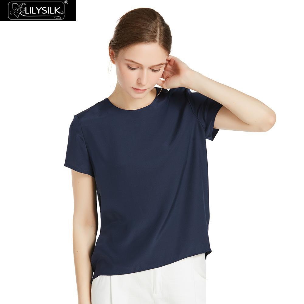 LILYSILK Dames Zijden Blouse en Tops Pure Natuur Moerbei 22 MM Knop Slit Terug Sluiting Elegante Overhemd-in Blouses & Shirts van Dames Kleding op  Groep 1