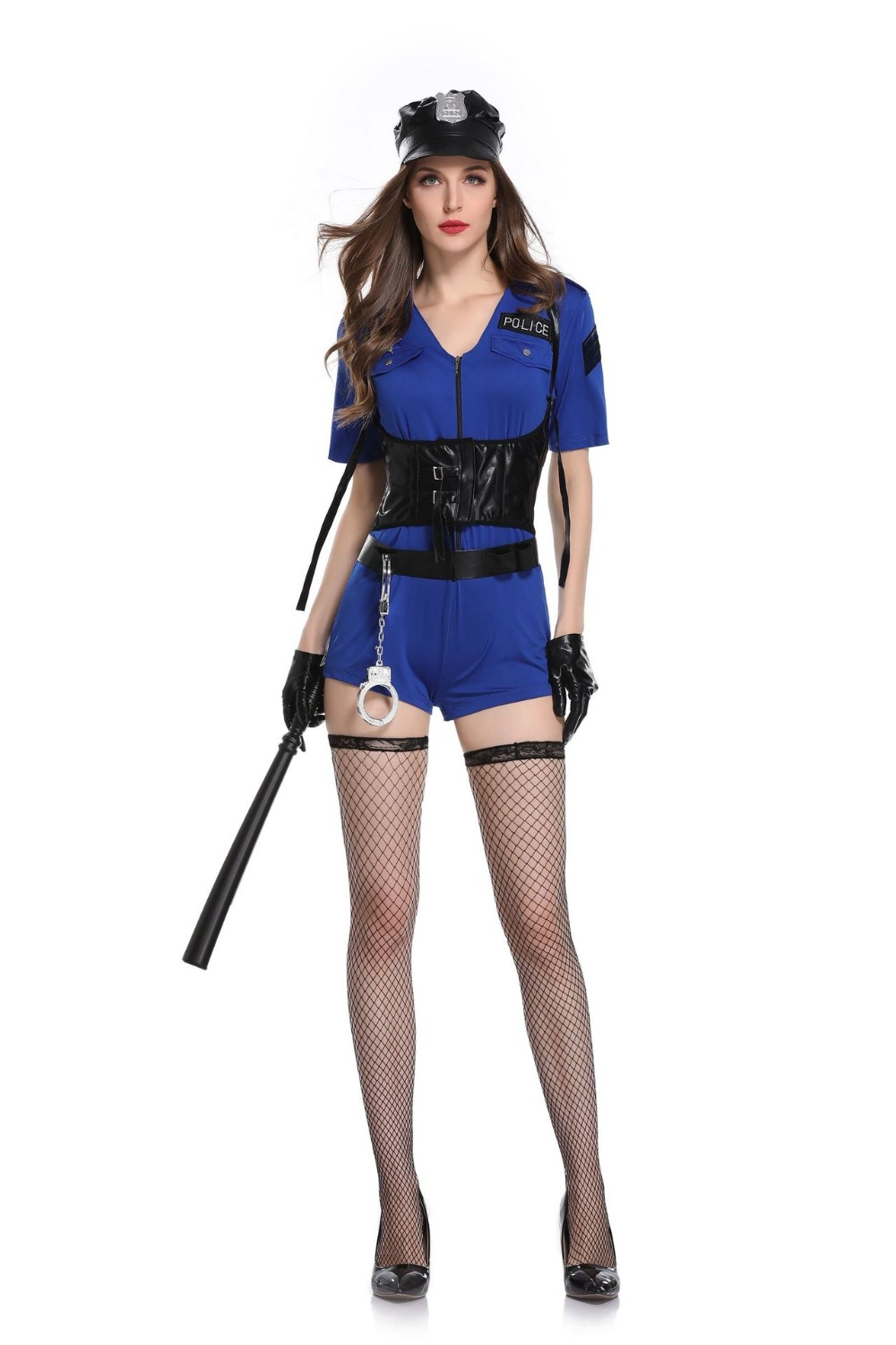 High Quality Halloween Sexy Cop Outfit Woman Cosplay Blue -6038