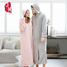 Winter Warm Thick Ankle-Length Robes Women Extra Long Kimono Flannel Dressing Gown Soft Sleeve Bathrobes Female Hooded Robe