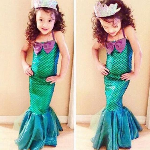 fa882a8f9 Baby Girls the little mermaid tail princess ariel dress cosplay costume  kids for girl fancy green dress