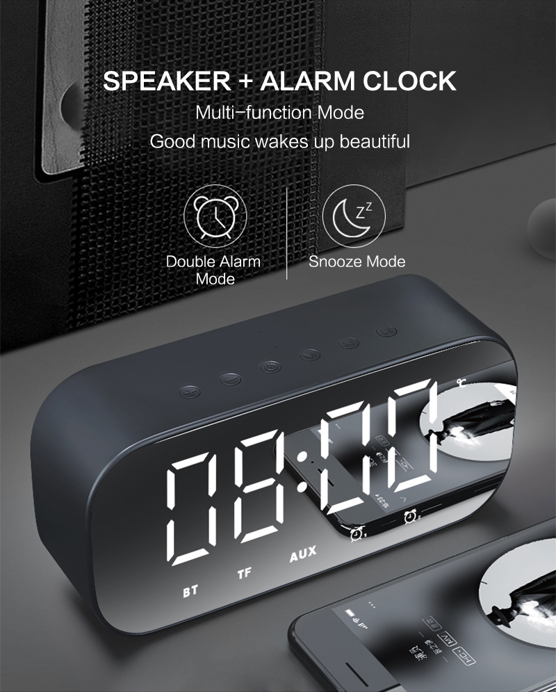 Bluetooth Mirror Alarm Clock with Speaker and FM Radio including Time and Temperature Display Useful for Listen to Music and Makeup at the Same Time 14