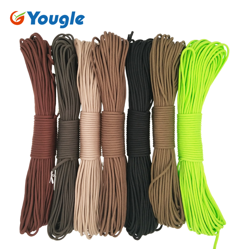 YOUGLE Paracord 550 Parachute Cord Lanyard Rope Mil Spec Type III 7 Strand 100FT 31m Climbing Camping survival equipment 11-17 yougle 550 paracord paracord parachute cord lanyard rope tent guyline mil spec type iii 7 strand core 50 100 ft 215 colors