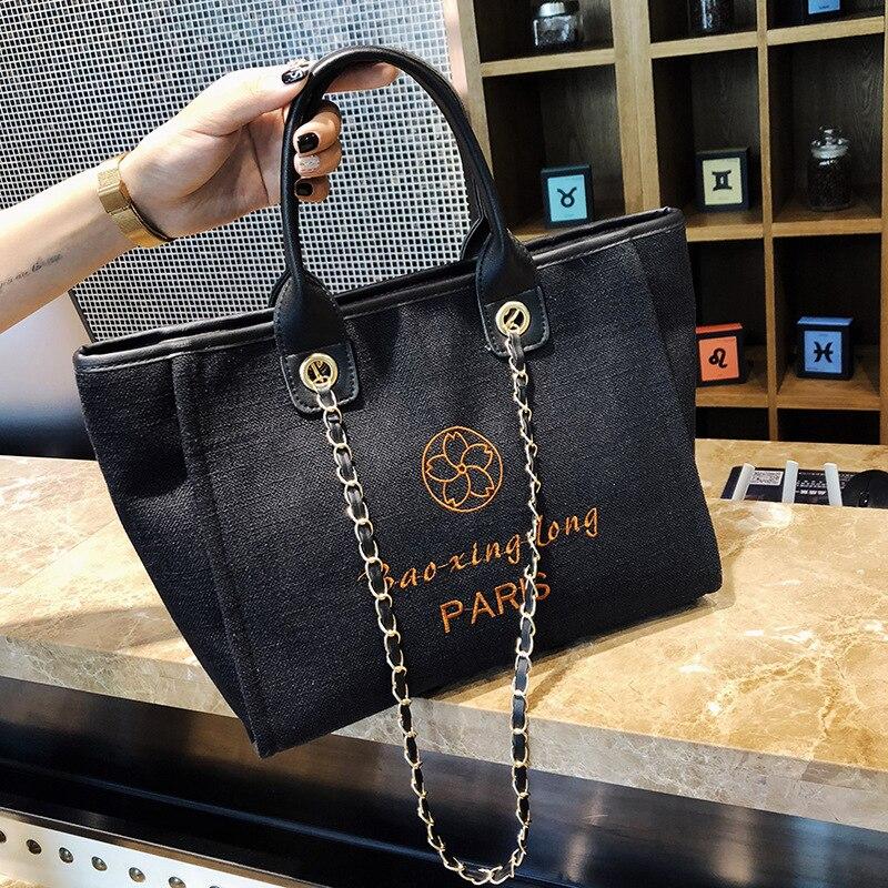 Capienza white Sacchetto Grande A blue Borsa Nuovo Bag black Tracolla Messenger Di Del Della Lettera Femminile Brown Chic Tela Catena Tote HRqWq7B6