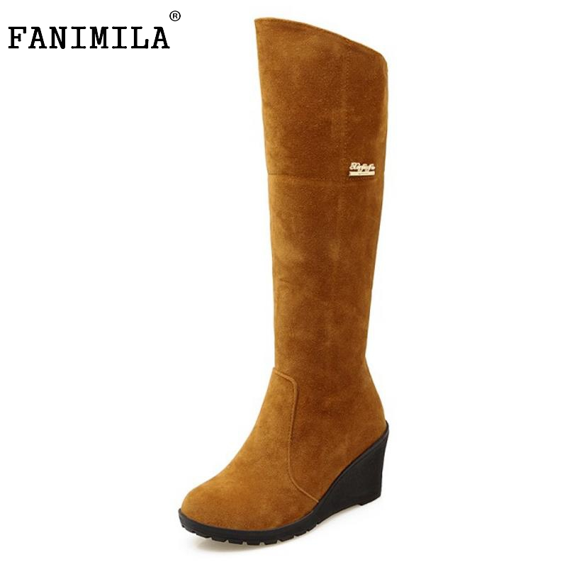 Women Round Toe Wedge High Heel Knee Boots Suede Leather Warm Fur Knight Boot Woman Heels Shoes Botas Feminina Size 34-43 enmayla winter autumn round toe low heel knee high boots women flats lace up shoes woman rider brown black suede motorcycle boot