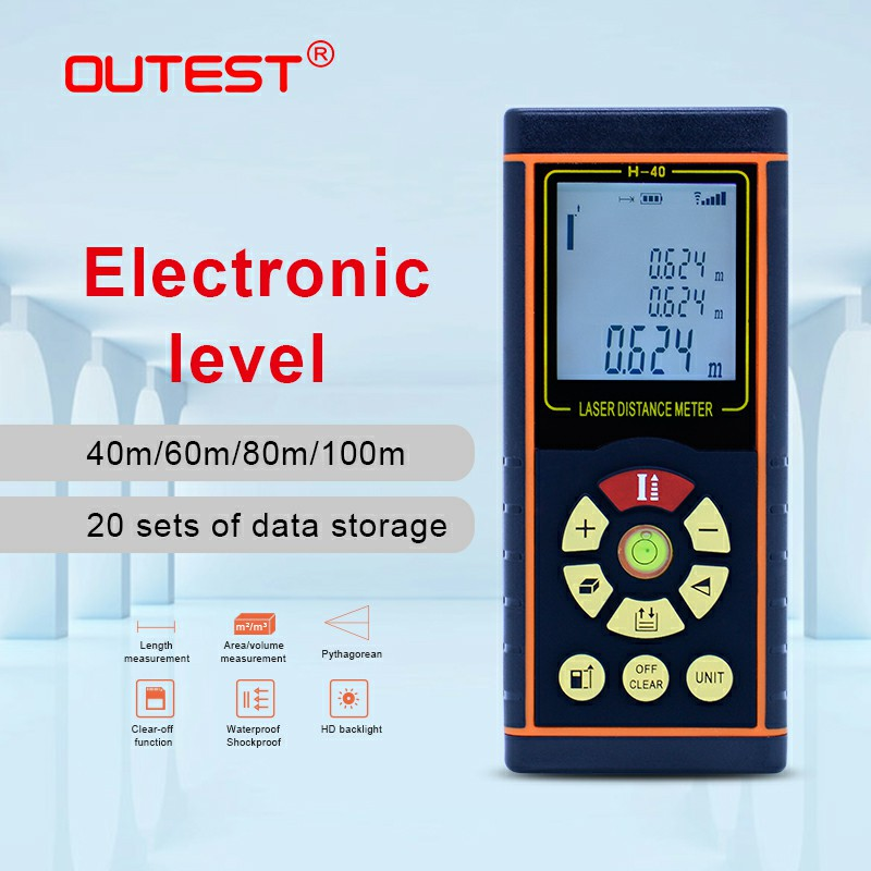 OUTEST Digital Laser Distance Meter 40M 60M 80M 100M Laser rangefinder metre Single continuous Area Volume with Electronic levelOUTEST Digital Laser Distance Meter 40M 60M 80M 100M Laser rangefinder metre Single continuous Area Volume with Electronic level