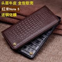 Redmi Note 5 Case Luxury Cow Genuine Leather Case for Xiaomi Redmi Note 5 Fashion Crocodile Patterned Fundas Skin Flip Cover