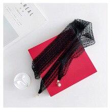 Новая мода женский однотонный кружевной шарф женский чистый цвет жемчужная подвеска шейный платок головной убор длинная сумка ленты шарфы и палантины
