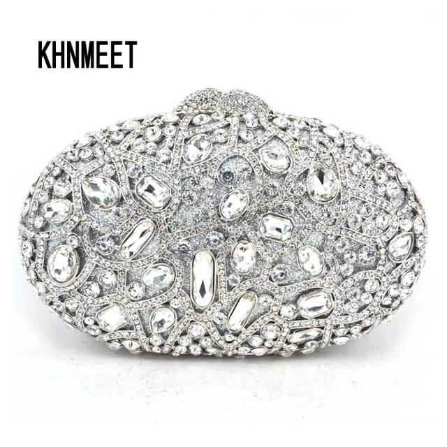 Brand Designer Luxury Crystal Multicolor Clutch Bag Women Diamond Evening  Bag Golden Oval Wedding Banquet Purse Handbags SC467 58ce866270b4