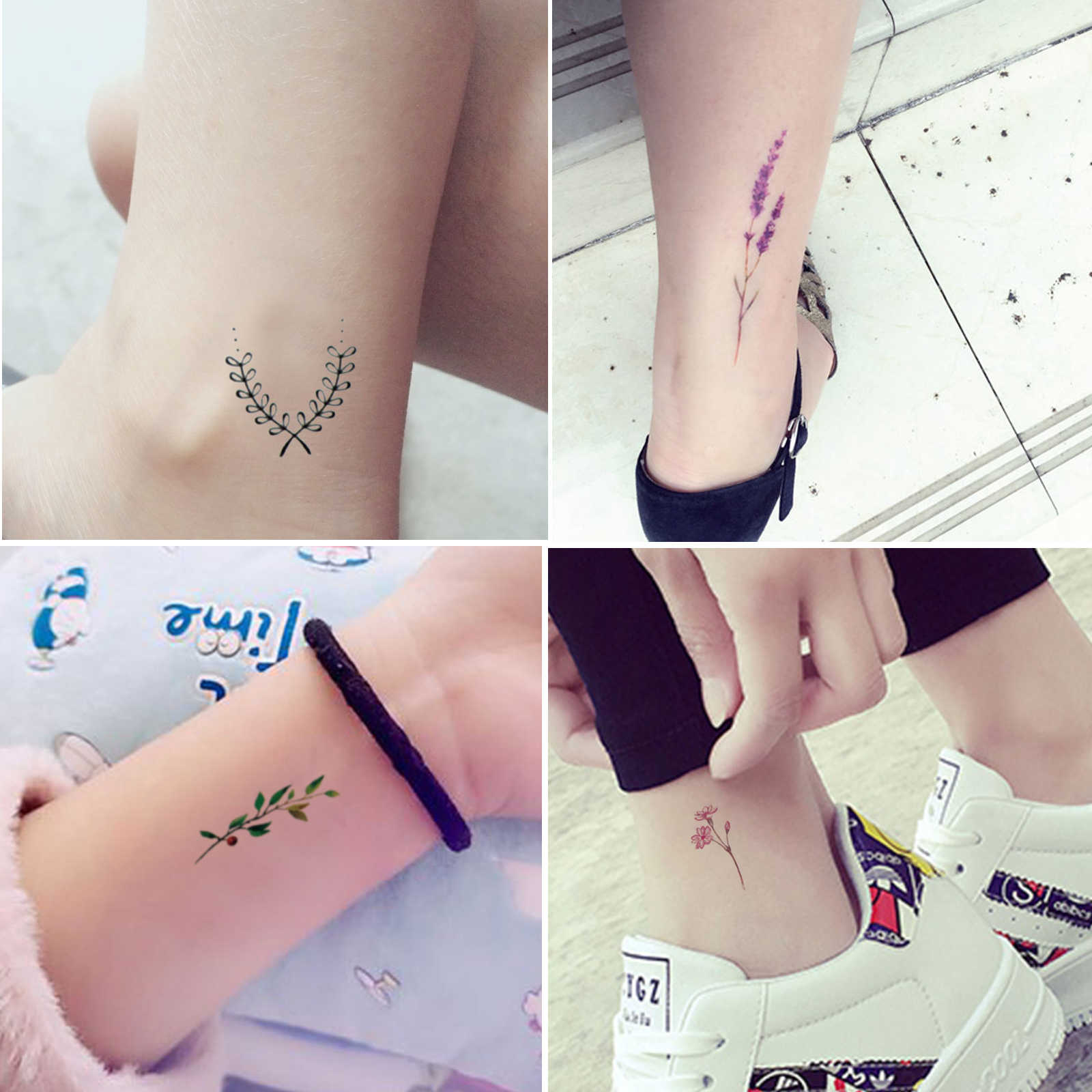 4 PCs Original Lavender Olive branch flower Fake Tattoo Waterproof Temporary Arm Tatoo Stickers For Women Men Body Art Tattoos