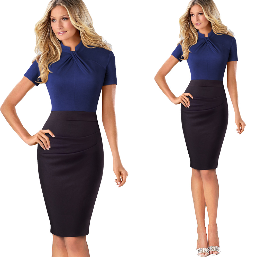 Nice-forever Vintage Contrast Color Patchwork Wear to Work Knot vestidos Bodycon Office Business Sheath Women Dress B430 35