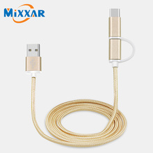2 in 1 Aluminum Micro USB Cable Charging Mobile Phone Cables For iPhone 6 5S 5