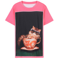 2018 Runway Women Sweet Lolita Cat Glasses Cartoon Print Pink T Shirts Summer Tops Tee Harajuku