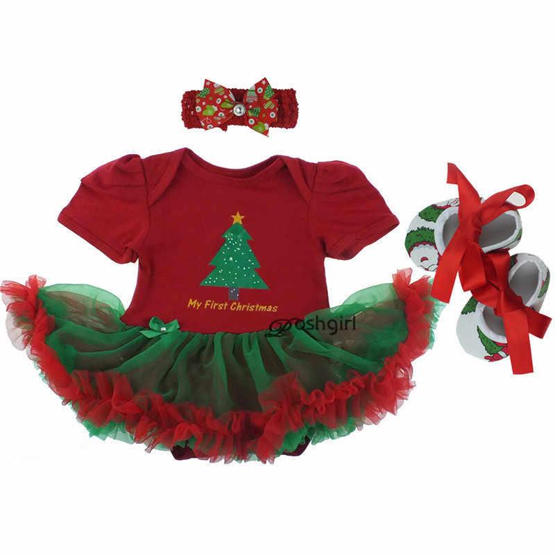 Feliz Presente de Natal Do Bebê Menina Vestido Romper Roupa Do Bebê Recém-nascido Da Criança Lace Tutu Headband Conjunto Vestido de Menina Bebe Infantil Pano