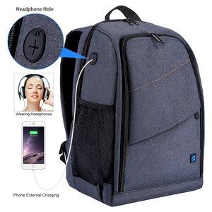 Image 3 - กระเป๋าเป้สะพายหลังกันน้ำ DSLR พร้อมช่องเสียบหูฟังแจ็คหูฟังวิดีโอดิจิตอลกล้อง DSLR กระเป๋ากล้องสำหรับ Nikon Canon เลนส์