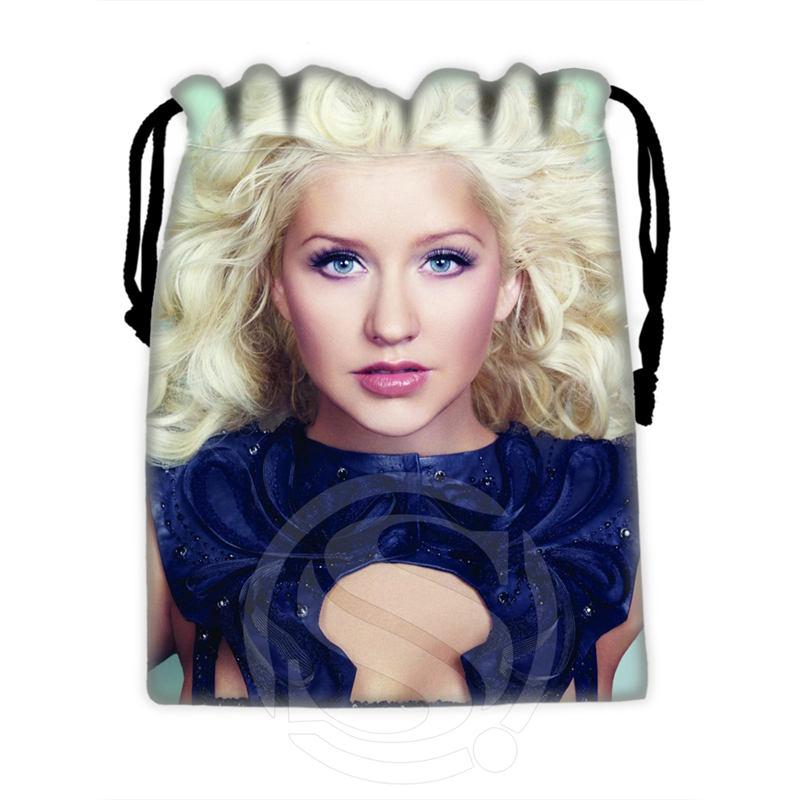 H-P697 Custom Christina Aguilera#20 Drawstring Bags For Mobile Phone Tablet PC Packaging Gift Bags18X22cm SQ00806#H0697