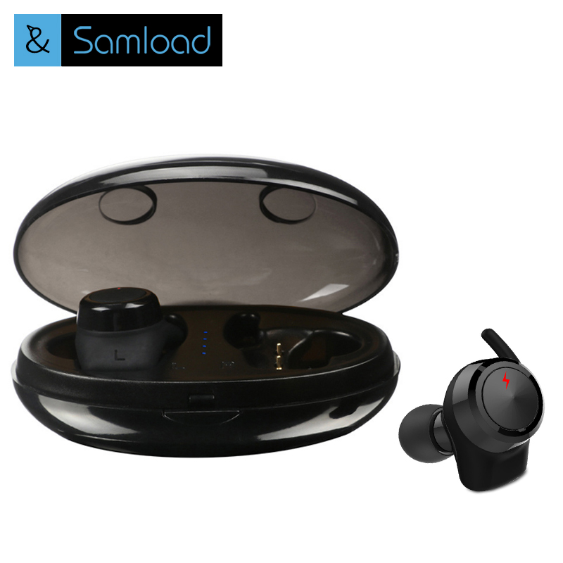 Samload TWS bluetooth earphone true wireless earbuds with Charger Box Built-in Mic APTX Stereo Sports mini bluetooth headset