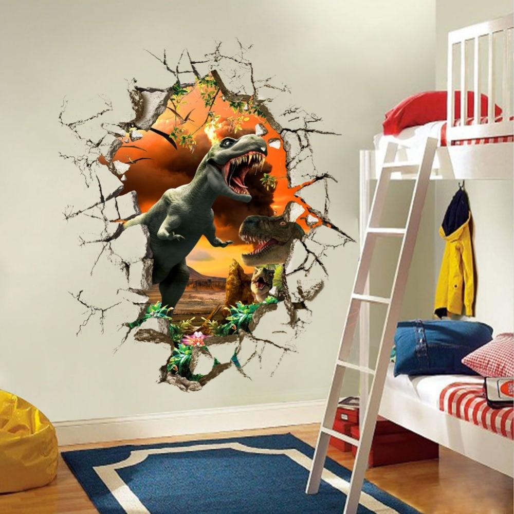 3D angry Birds динозавров стены наклейки мальчиков bedroon Декор сломать дверь мультфильм наклейки самоклеющиеся наклейки стены