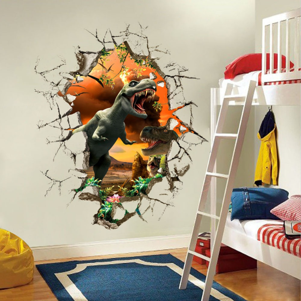 3D angry dinosaur wall stickers boys bedroon decor break door stickers cartoon self adhe ...