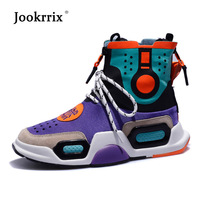 Jookrrix 2018 Real Leather Shoes Women Fashion Brand Sneakers High Top Lady chaussure Autumn Female footware Breathable Quality