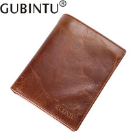 GUBINTU Real Genuine Leather Mens Passport Holder Wallets Man Cowhide Passport Cover Purse Brand Male Credit