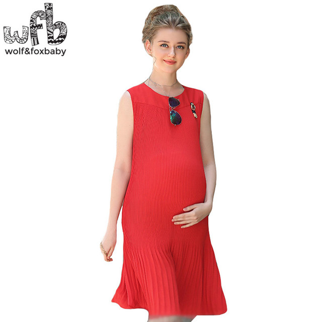 Retail Pregnant women dress Large size chiffon Slim Fit sleeveless solid color  pleated skirt summer