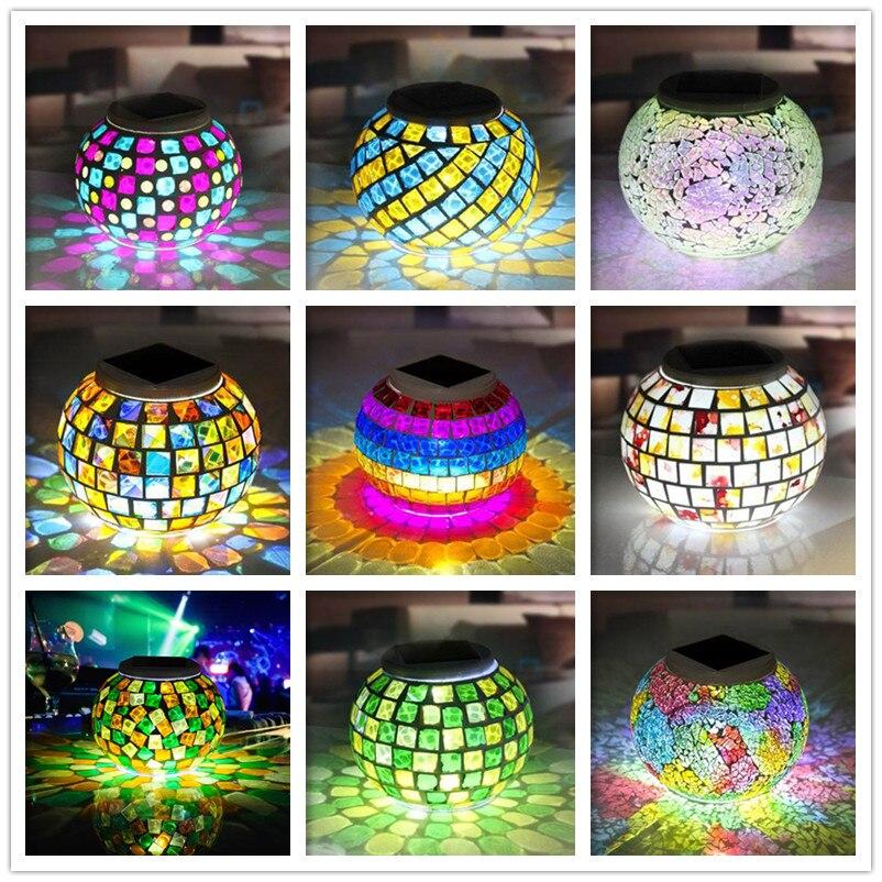 Neue Solarbetriebene Mosaik Glas Ball Gartenleuchten Bunte Ändern Hof Balkon Lampen Wasserdicht Indoor Outdoor Licht -- M25
