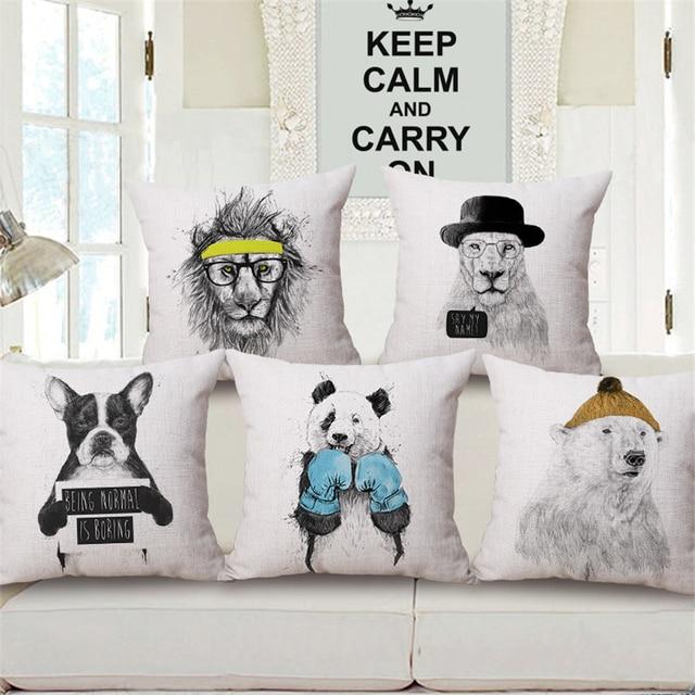 Cartoon Panda Dachshund Pug Dog Animal Decorative Office Chair Cushion  Cover Vintage Home Decor Bed Sofa