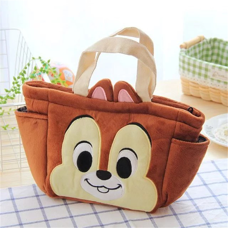 Cute Stitch Chip and Dale Donald Duck Plush Lunch Bag for Kids Lunch Box Tote Bag Children Picnic Food bag