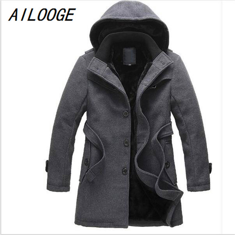 AILOOGE 2017 NEW Thick Longer Plus Size Coats Men Jacket Winter Overcoat Men's Trench Jacket Male Warm Winter Parka Men Jaeket free shipping winter parkas men jacket new 2017 thick warm loose brand original male plus size m 5xl coats 80hfx