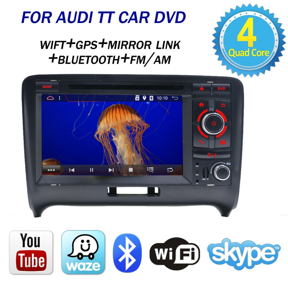 Bosion 2 din Android 7.1.1 quad Core 7 ''Radio Stéréo GPS Lecteur DVD de Voiture pour Audi TT MK2 8J 2006 2007 2008 2009 2010 2011 2012
