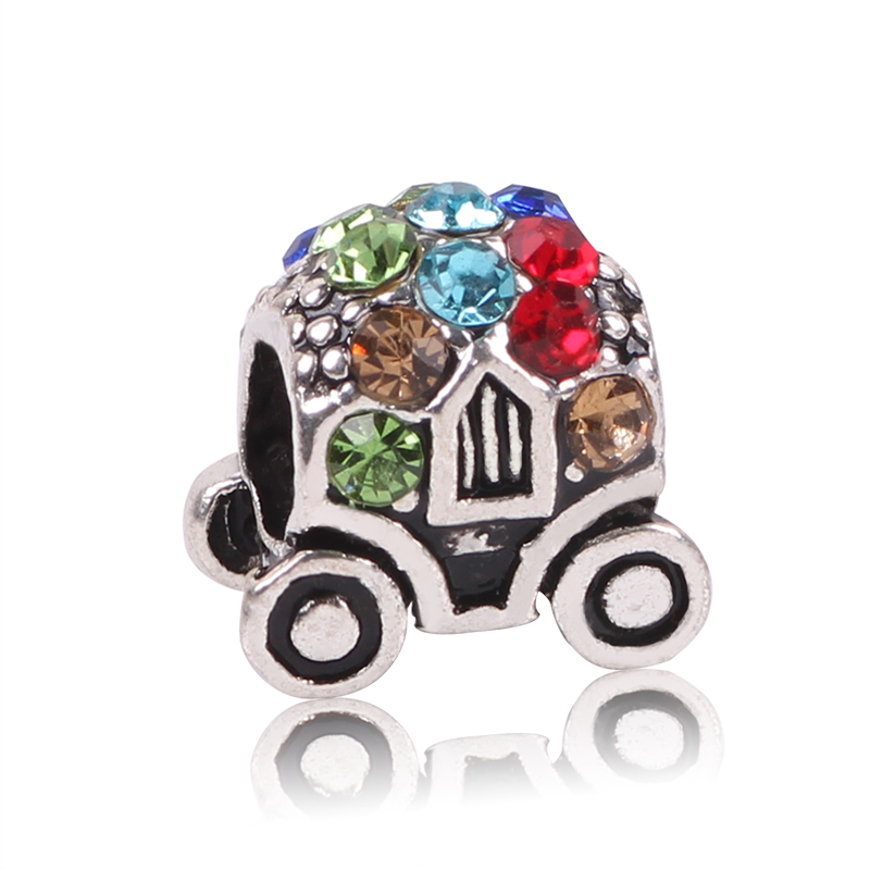 Mini Cute Style Enamel Pumpkin Cars Charm Beads,New Big Hole Silver Color Beads Fits Pandora Charm Bracelet for Women as Gift
