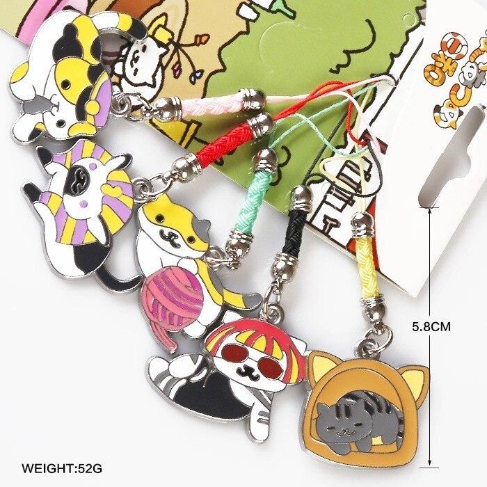 5pcs/lot Kitty Cat Backyard Neko Atsume Comic Cosplay Fish Cook Portable Cartoon Chains Accessory Pendant Ornament Anime Gift kitty cat backyard neko atsume backpack comic periphery dual portable canvas shoulders bag cartoon accessory kids anime gift