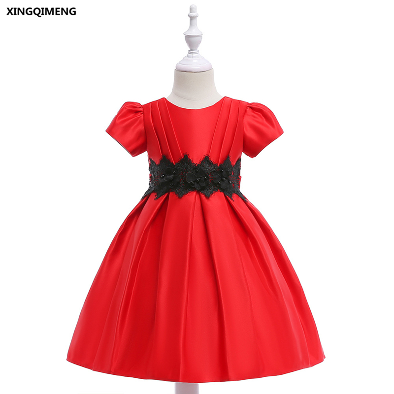 In Stock Red Flower Girl Dress For Weddings 3 10y Cheap Simple