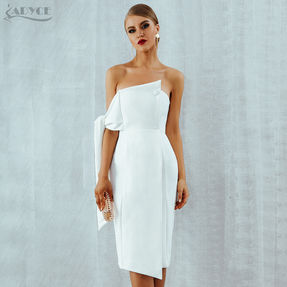 Adyce Celebrity Party Dress Women 2019 New Summer Arrival Casual White One Shoulder Elegant Button Tassels Club Dresses Vestidos-in Dresses from Women's Clothing
