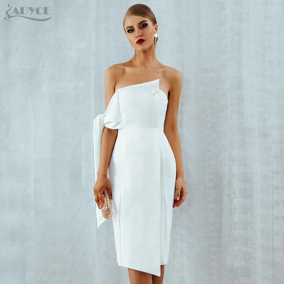 Adyce White Celebrity Party Dress Women 2019 New Summer Arrival Casual One Shoulder Elegant Button Tassels Club Dresses Vestidos